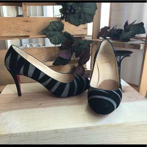 Christian Louboutin grey black suede stripped heel